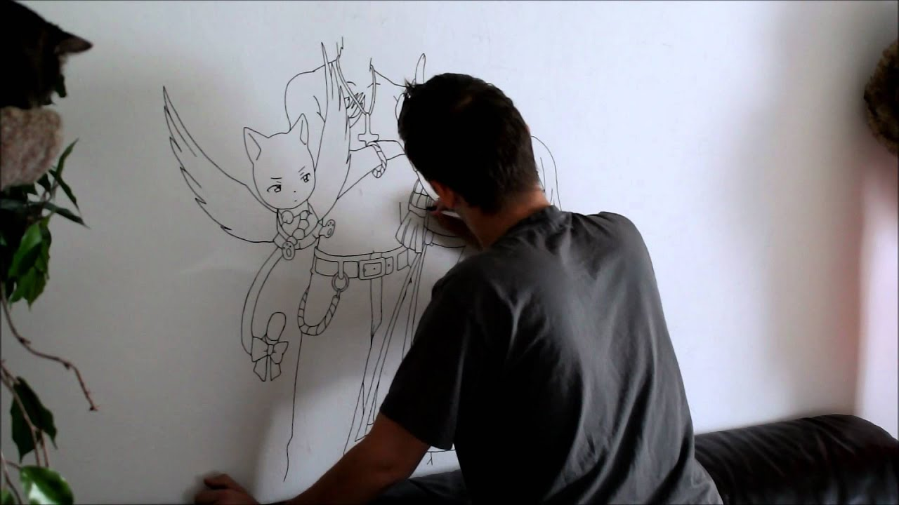 Let s draw fairy tail mural draw youtube for Drawing mural on wall