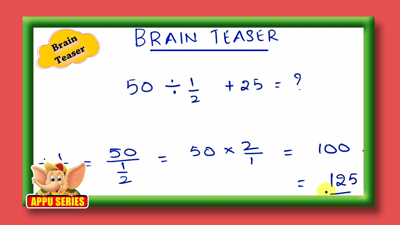 math worksheet : brain teaser  math teaser  youtube : Math Brain Teaser