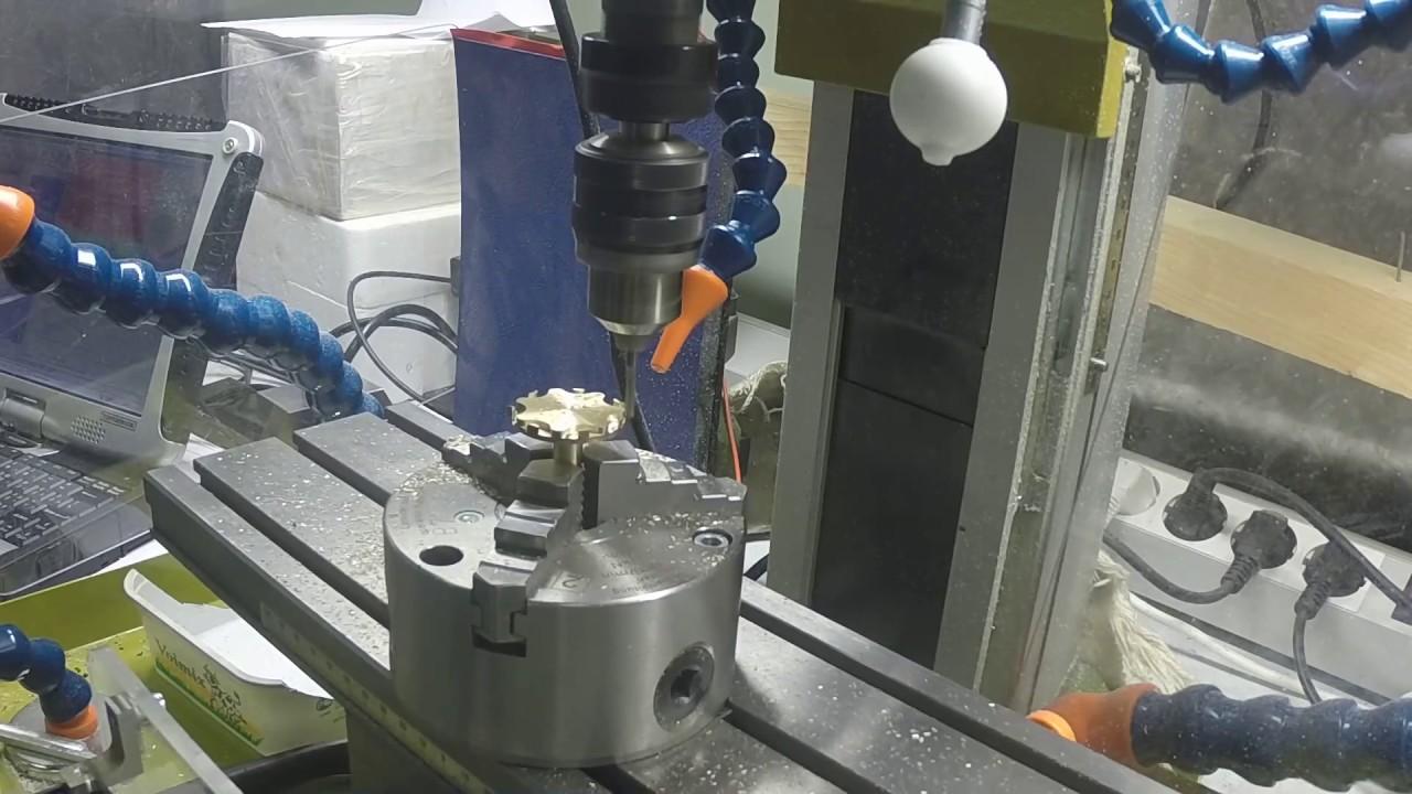 Proxxon FF500 CNC  Milling brass insert for knob
