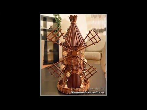 Ветряная мельница из газетных трубочек. Мастер-класс.