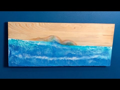 DIY Folding Wall Desk + Wood Resin Ocean Beach Art