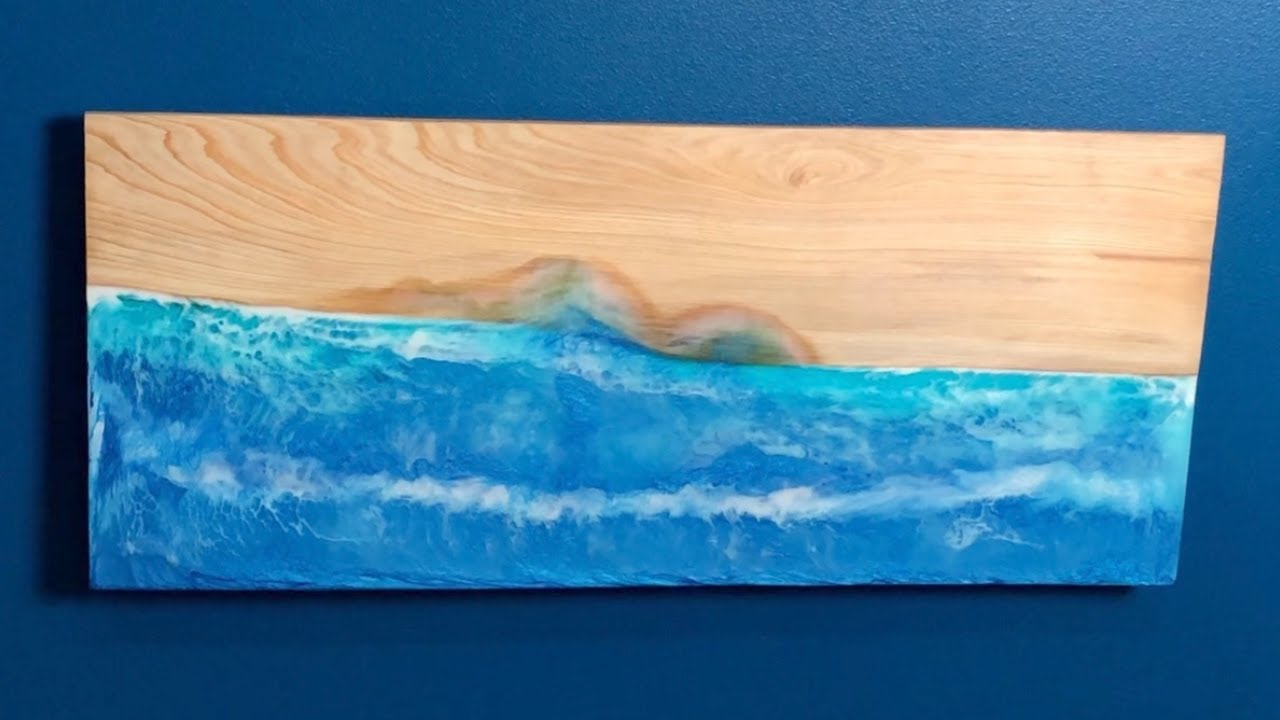 Resin Art Table Tray River Tray Blue Waves