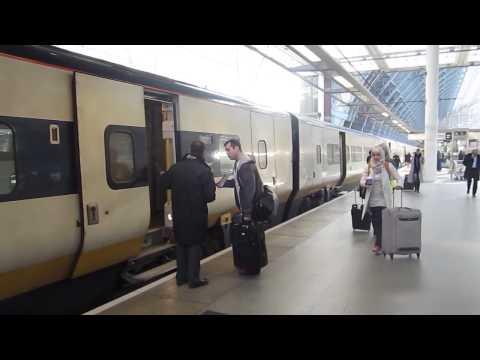 Boarding Eurostar train at St. Pancras Station in London