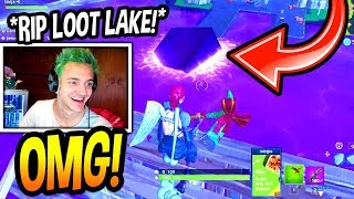 NINJA REACTS TO CUBE *DESTROYING* LOOT LAKE! (CRAZY) Fortnite SAVAGE & EPIC Moments