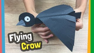 How to make flying bird out of paper | Flying crow craft - easy to make with kids