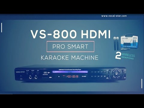 VS-800 Vocal-Star VHF Microphones HDMI Karaoke Machine supports Tablet/Phone connection overview