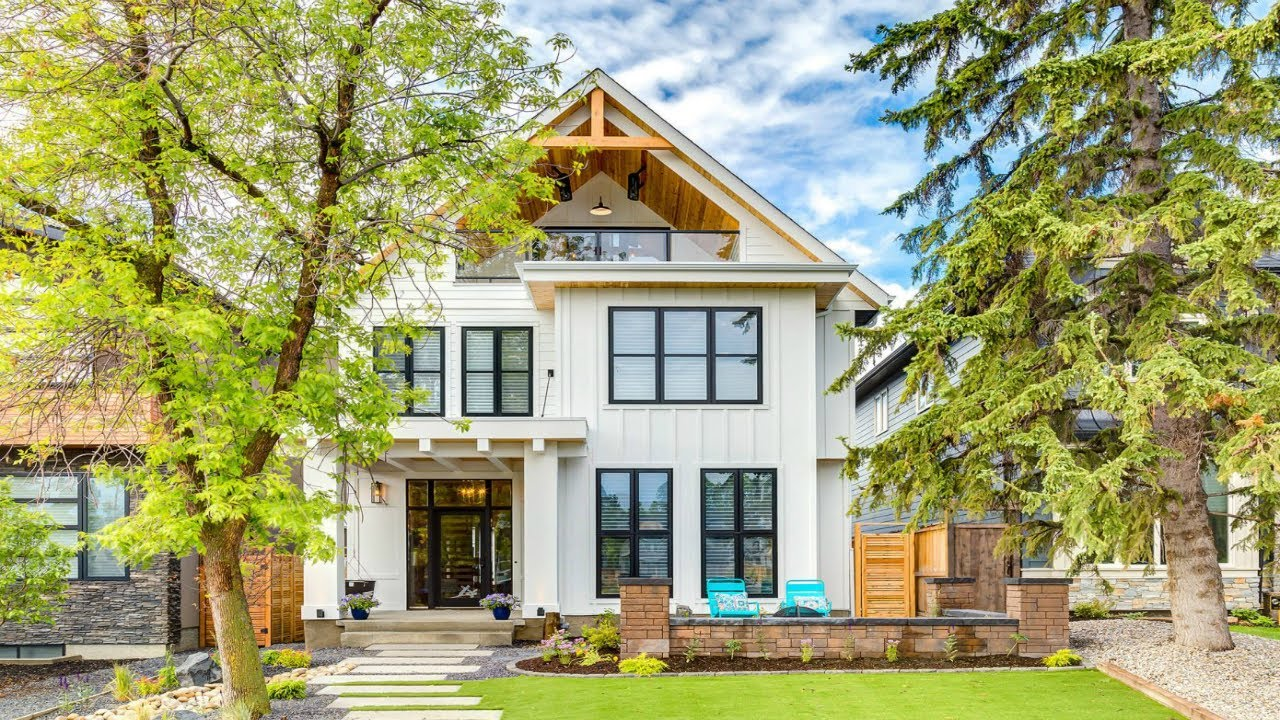 Modern farmhouse designed by trickle creek designer homes located in calgary canada