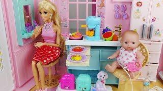 Baby doll and Barbie pink house toys kitchen play 아기인형 바비 하우스 미미이층집 주방놀이 요리 장난감놀이 - 토이몽