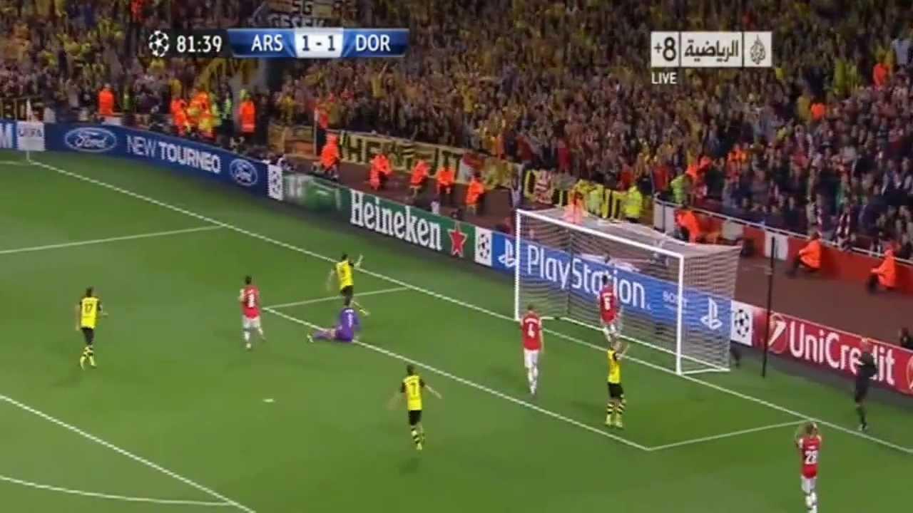 أهداف مباراة آرسنال 1-2 بروسيا دورتموند 22_10_2013 حفيظ ...