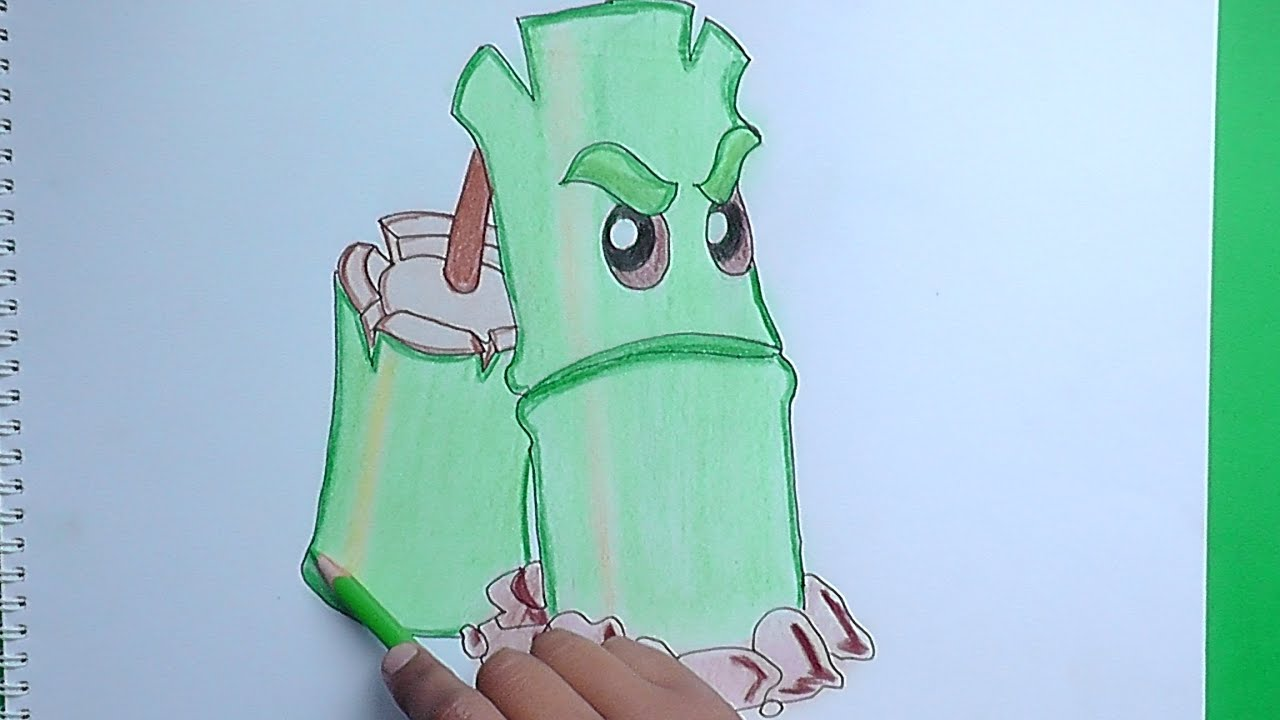 Como dibujar a Planta Bamboo (Plantas vs Zombies 2) - How to draw ...