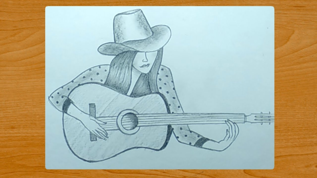 Pencil Drawing A Beautiful Girl With Guitar Easy Youtube