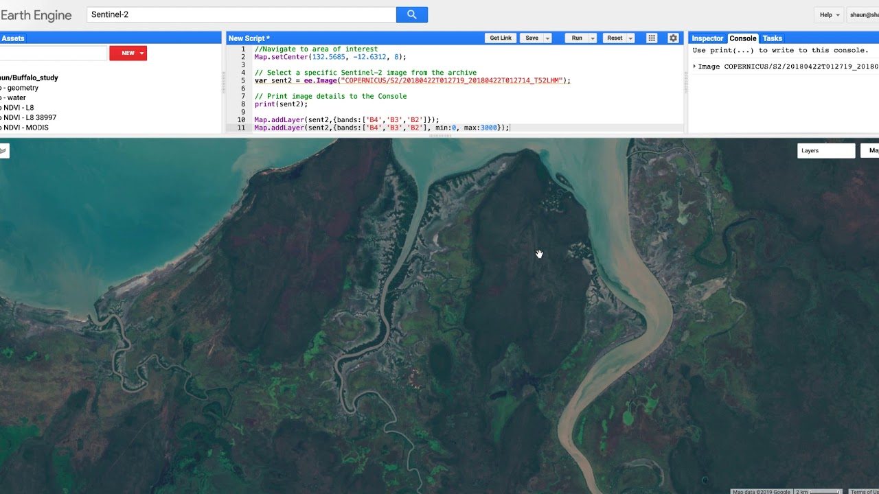 Understanding reflectance and band combinations in Google Earth Engine -  Lab 2
