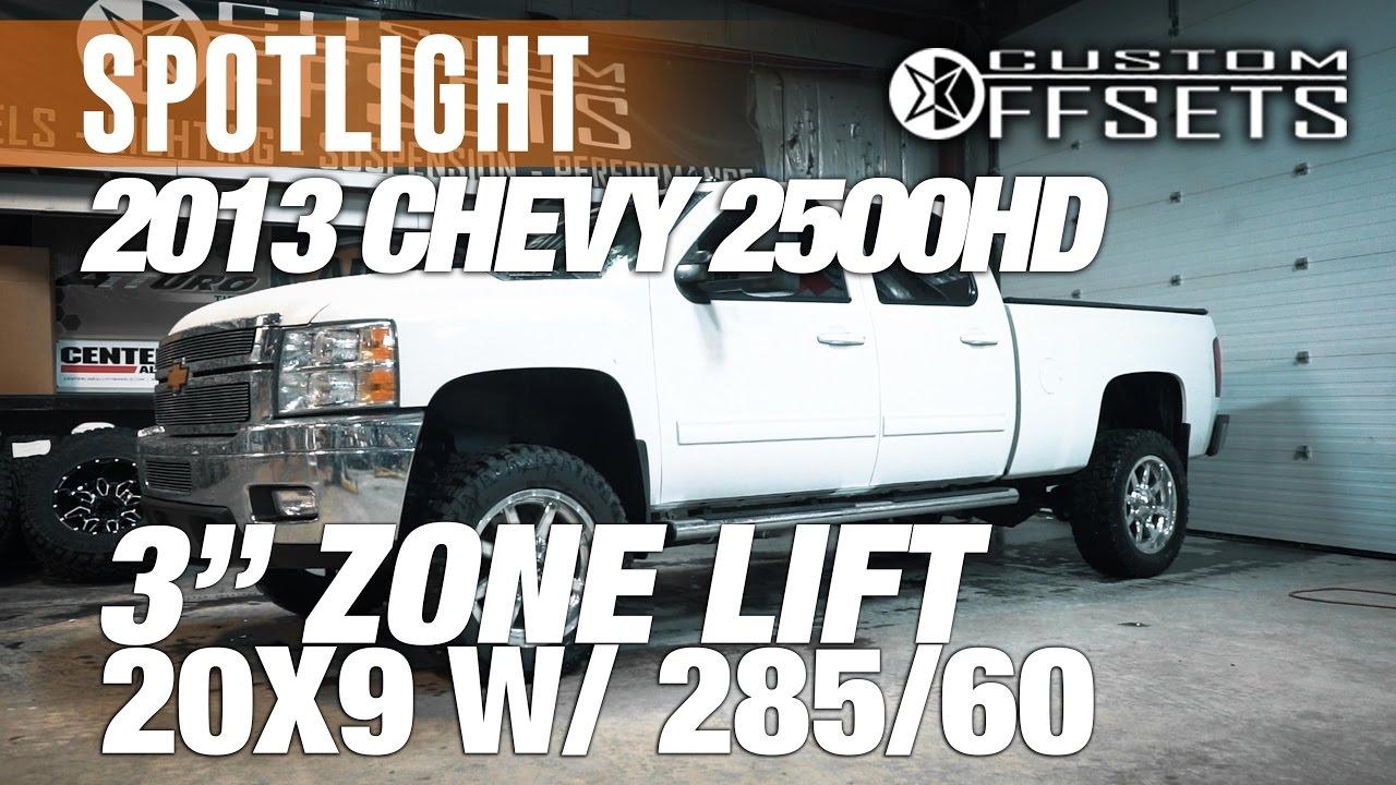 spotlight 2013 chevy silverado 2500hd duramax 3 zone lift 20x9 39 s 285 60 39 s youtube