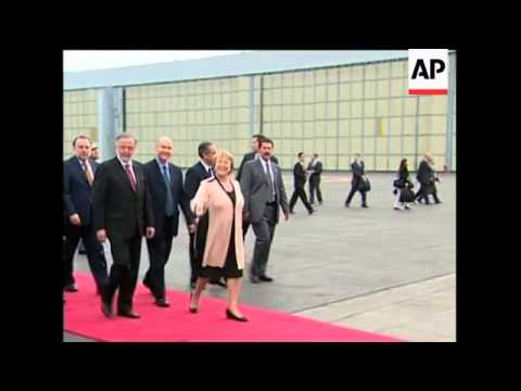 Chile President Bachelet arrives for two day visit
