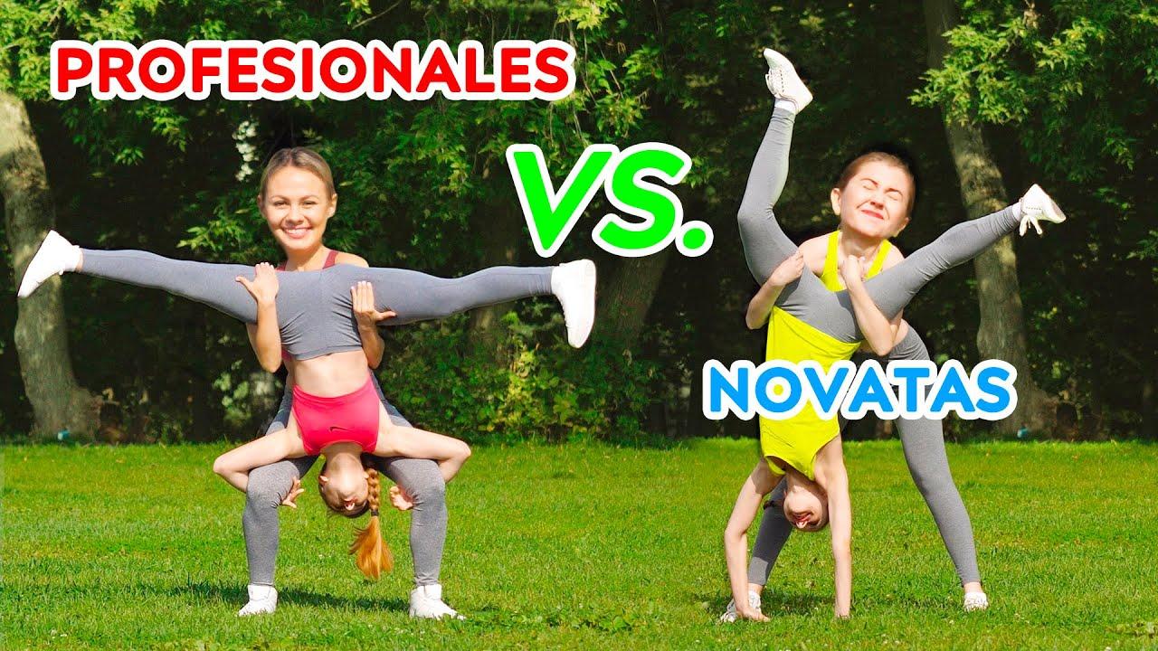 Desafío De Acrobacias Imposibles Profesionales Vs Novatas Trucos De Gimnasia Youtube