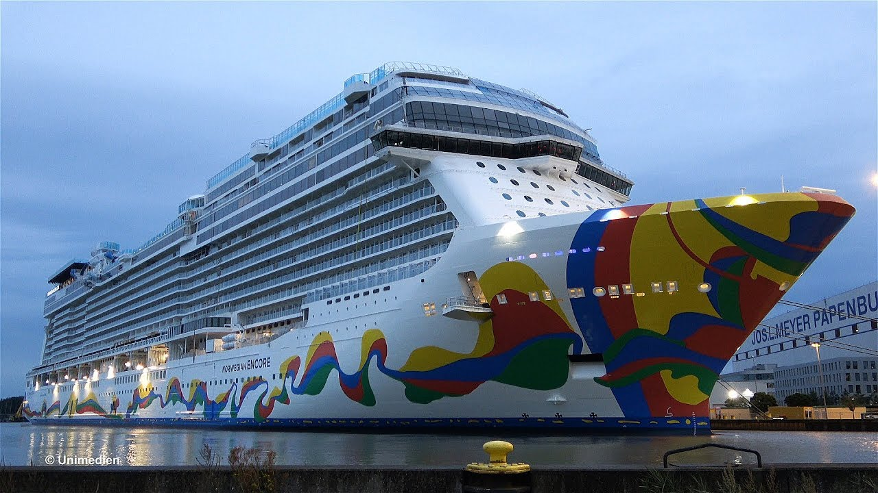 Norwegian Encore The Spectacular Giant Big Ship Launch Deep In The Night At Meyer Werft 4k Video