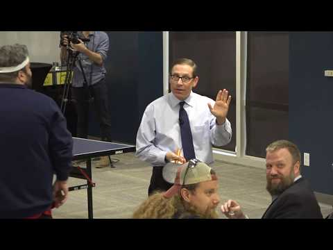 Texas Tribune CEO Evan Smith vs. State Rep. Jonathan Stickland in ping pong