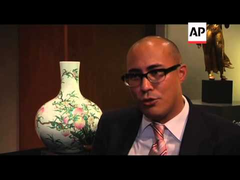 Preview of sale of Qianlong Chinese vases, one expected to fetch 15.4m dollars