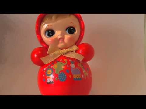 """Roly Poly Retro Made in Japan Celluloid Baby Vintage Musical Toy Dolls Original 10.6"""""""