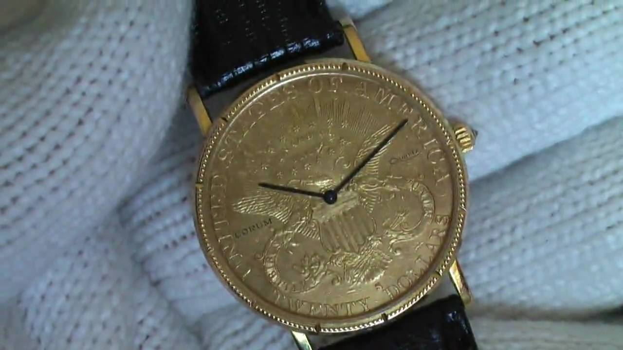 7efd7527154b9 Corum 1882 Quartz American  20 Gold Coin Watch Authentic Rare - YouTube