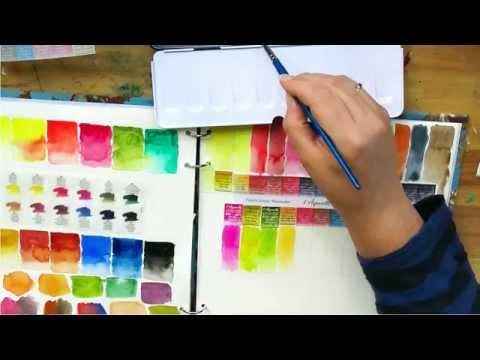Review: Sennelier watercolour paint unpacking + colour chart + first impression