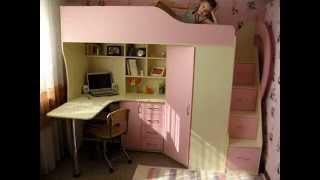 Детская кровать-чердак с рабочей зоной, угловым шкафом, тумбой и лестницей-комодом (кл21) Merabel(, 2015-03-13T09:41:02.000Z)