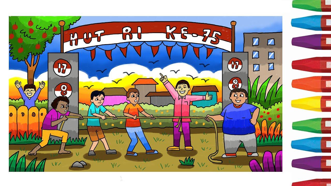 Cara Menggambar Lomba Tarik Tambang Tema Hari Kemerdekaan Ri 17 Agustus Youtube