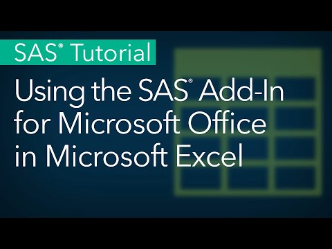 SAS Tutorial | Using The SAS Add-In For Microsoft Office In Microsoft Excel