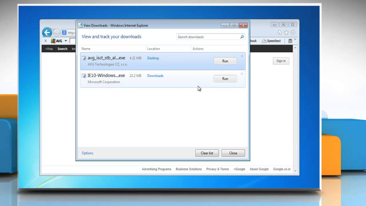 How to clear 'download' history in internet explorer® 9 on a.