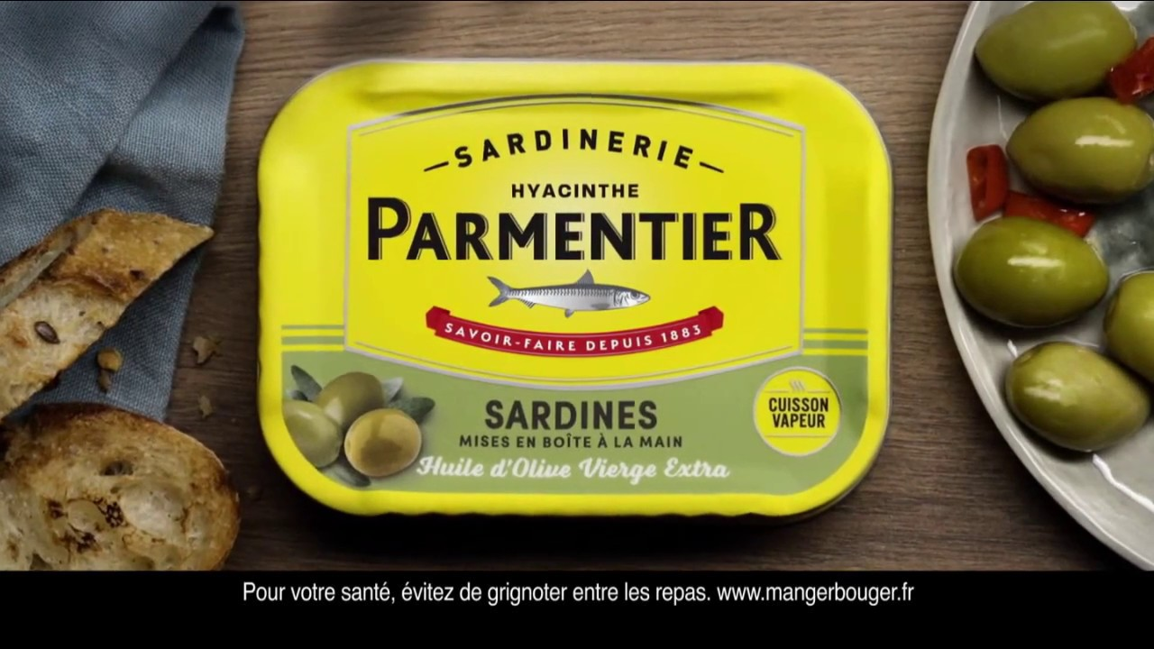 "Sardines Parmentier huile d'olive vierge extra ""si les sardines se serrent..."" Pub 10"