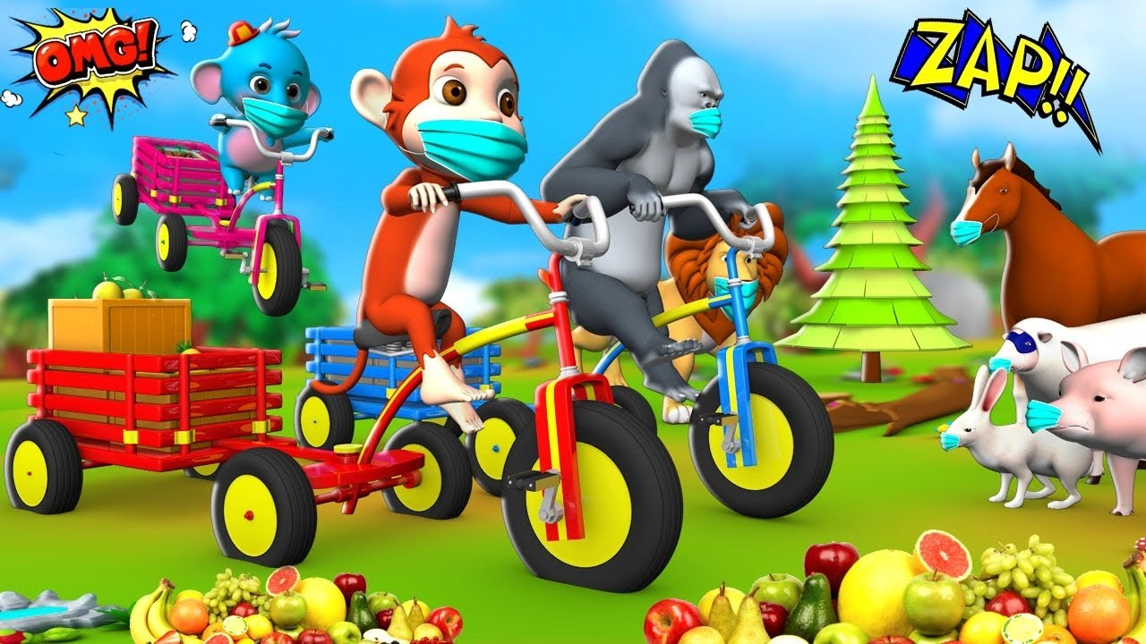 Funny Monkey and Gorilla gives Fruits with Bike Trolley in Forest - Funny Animal Videos 3D Cartoons
