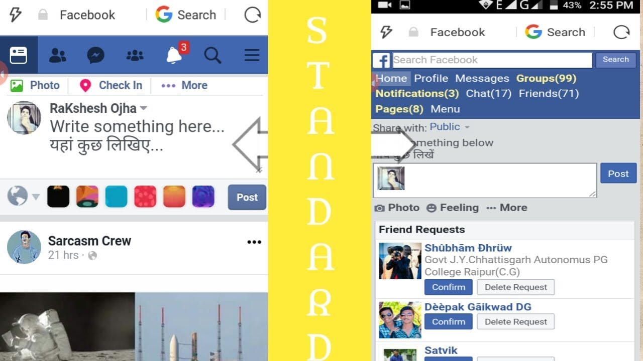 How to switch facebook to basic and old version / Uc