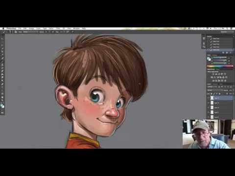 "Character design in Photoshop on my Wacom Cintiq 22""HD"