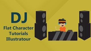 How to draw Flat Character DJ Man, Geometric Design, Illustrator
