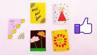 5 NEW YEAR GREETING CARDS | How to Make 5 mini Sweet & Cute Cards