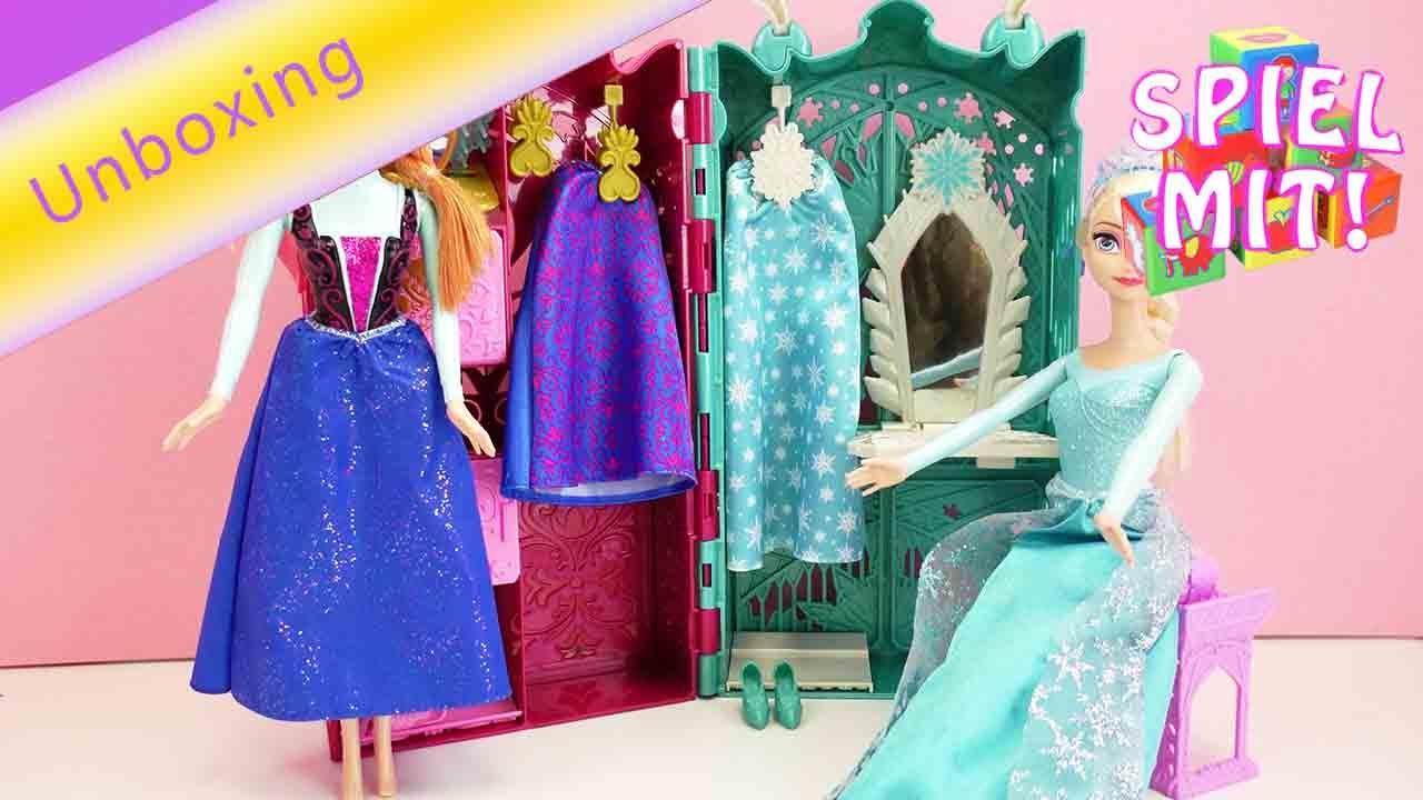 Eiskönigin Elsa und Anna Deutsch - Kleiderschrank mit 10 Accessoires -  Unboxing