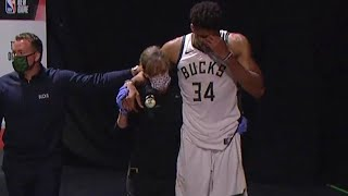 Giannis Antetokounmpo emotional as he leaves the locker room with ankle injury