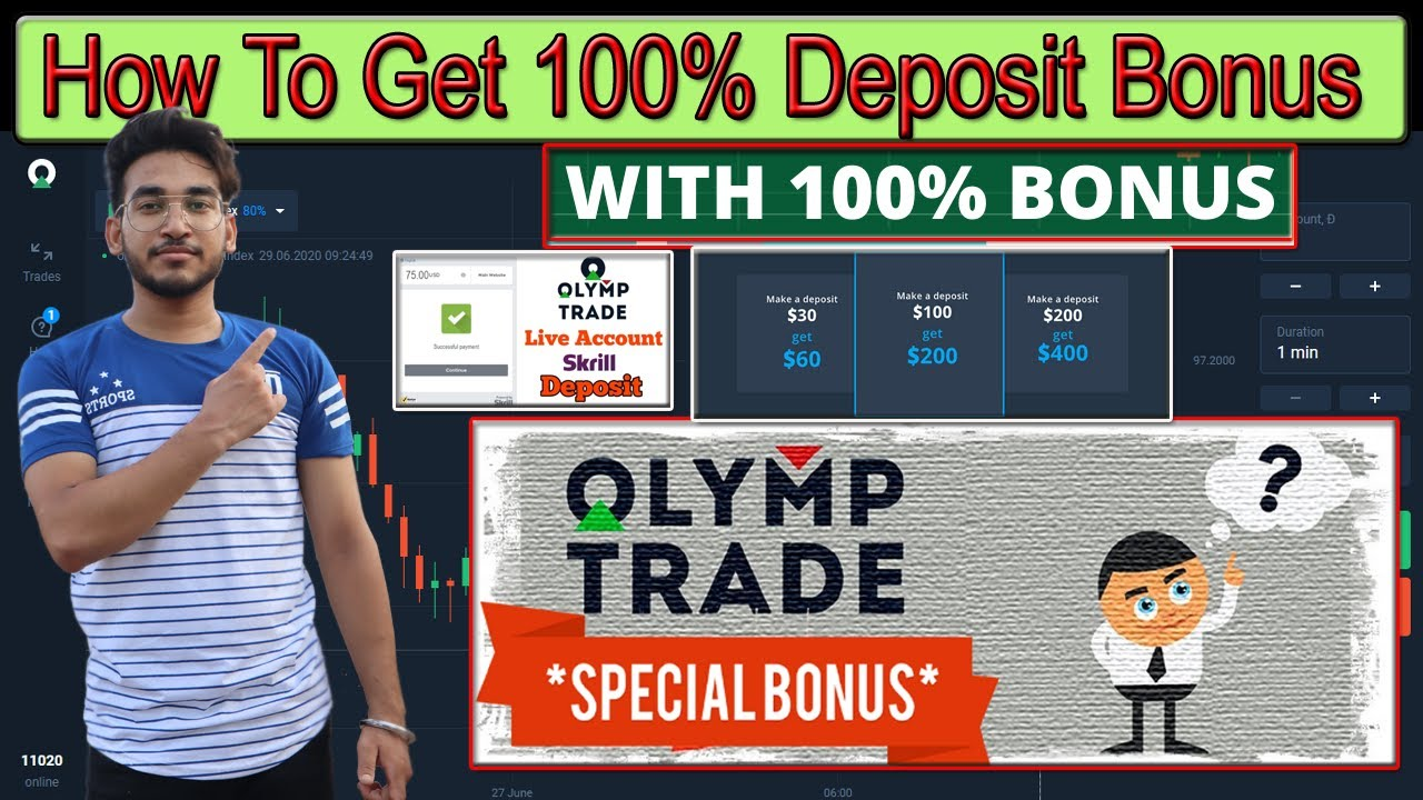 Get 100% Deposit Bonus | Olymp Trade Live Deposit | Skrill | how to deposit money in Olymp Trade