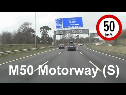 Driving in Ireland - M50 Motorway from Tallaght to Stillorgan, Dublin