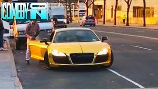Homeless Man Steals a Gold Supercar (Social Experiment)!!! thumbnail