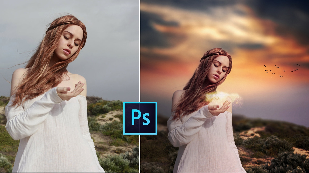 how to make a sunset with colours in photoshop