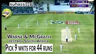 Warne and McGrath destroy South Africa - from 89/1 to 133 all out!!