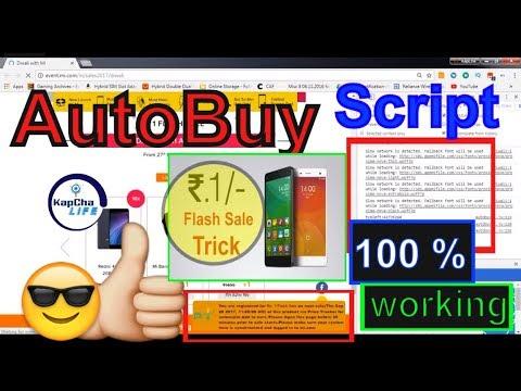 Mi 1 Rs Sale AUTOBUY SCRIPT [UPDATE] | Diwali with Mi 27-29 septembr 2017 trick 100% working