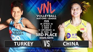 TURKEY Vs CHINA - 3RD PLACE (HIGHLIGHTS) | Women's VNL 2019