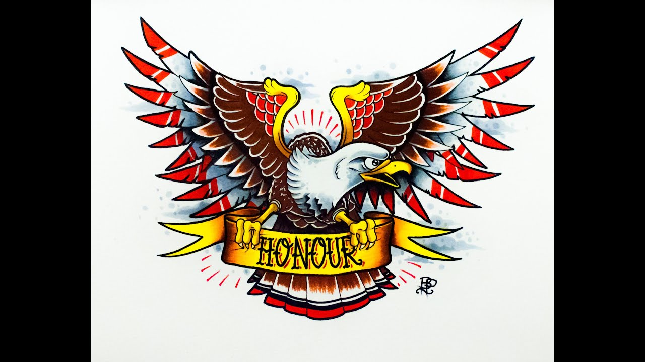 How To Draw An Old School Eagle Tattoo Design By Thebrokenpuppet
