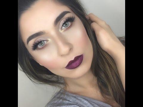 Winged Liner & Dark Lips Makeup Tutorial thumbnail