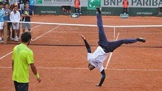 Battle de danse entre Gael Monfils et Laurent Lokoli à Roland Garros 2014
