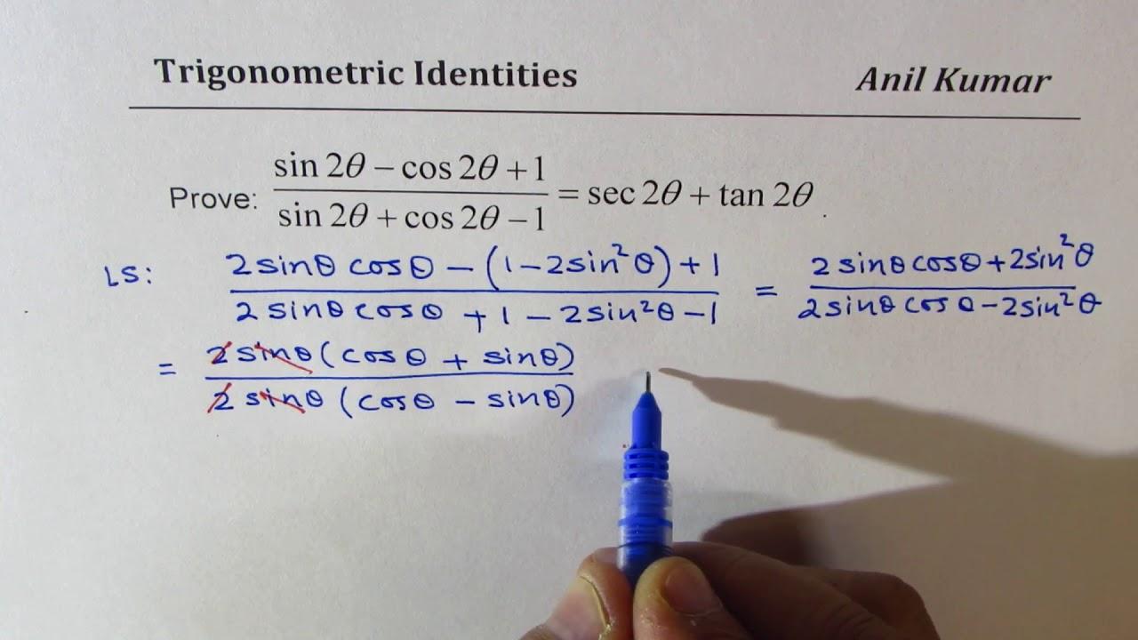 Trigonometric Identity In Double Angle Sin2x Cos2x 1 Sin2x Cos2x 1 Sec2x Tan2x Youtube