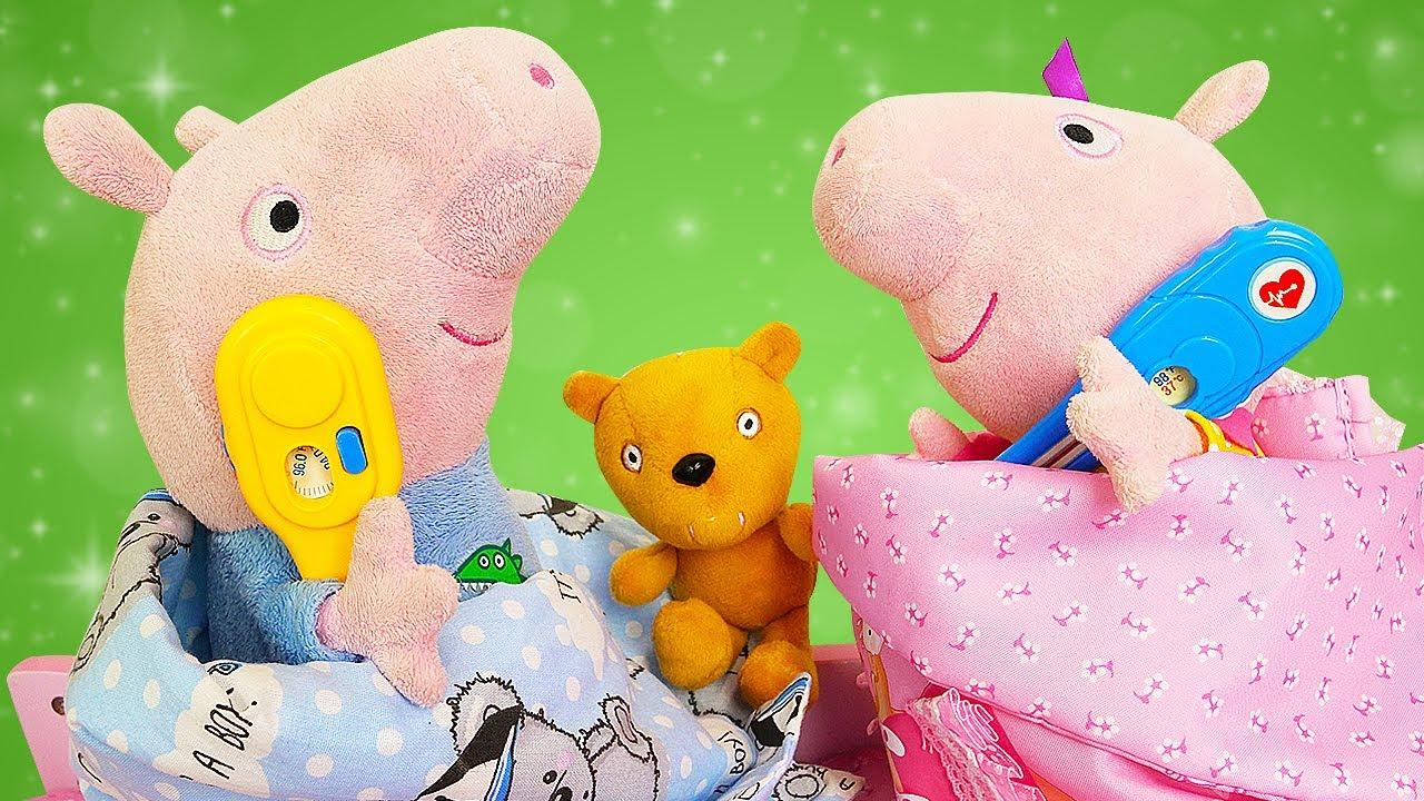 Peppa Pig e George ficaram doentes! Histórias para crianças com Peppa Pig e brinquedos de pelúcia