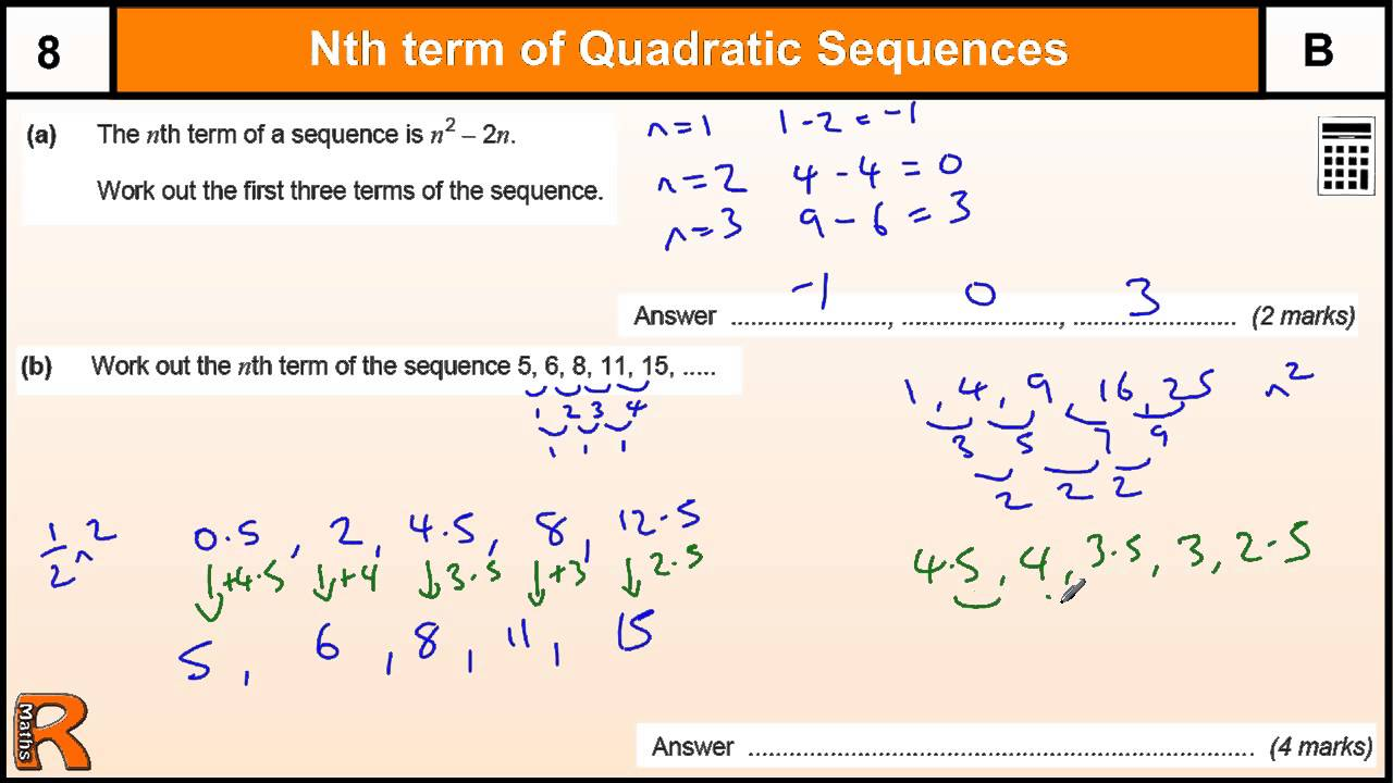 Quadratic and Cubic Sequences (solutions, examples, videos